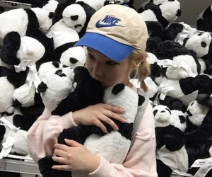 panda, girl, and nike image