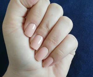 short nails, beige nails, and classy nails image