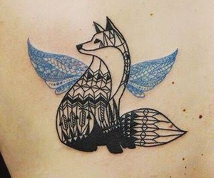 tattoo, fox, and wings image