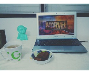 cake, coffee, and Marvel image