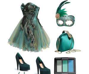 dress, green, and mask image