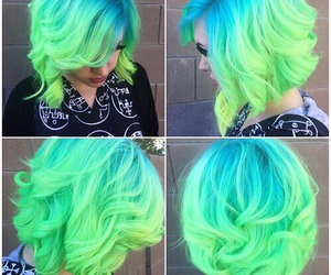 green hair and hairdressing image