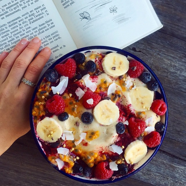 book, breakfast, and fruit image