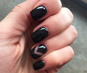 black nails, long nails, and luxury image
