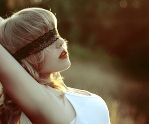 girl, blindfold, and lace image