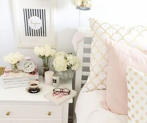 bedroom, decor, and flowers image