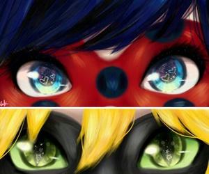ladybug, Chat Noir, and eyes image