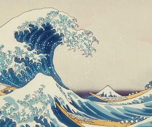 japan, waves, and blue image