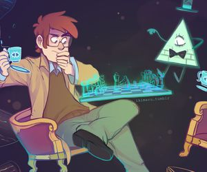 gravity falls, bill cipher, and ford pines image