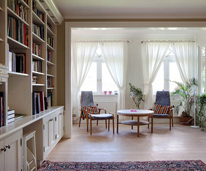 apartment, books, and bookshelves image