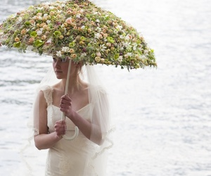 umbrella, flowers, and wedding image