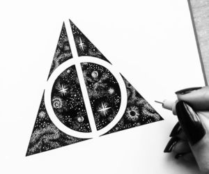 drawing, harry potter, and deathly hallows image