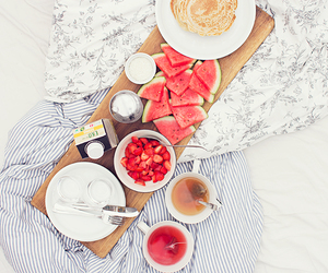 bed, breakfast, and cozy image