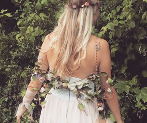 blonde, flowers, and party image