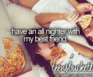 best friend, sleepovers, and pizza image