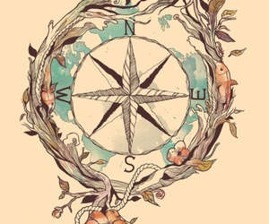compass, bird, and tattoo image