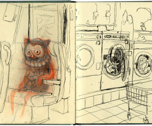laundromat, seats, and sketchbook image