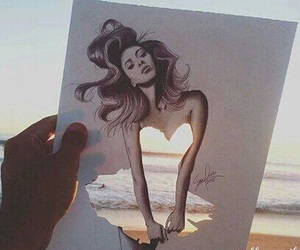 beach, draw, and girl image