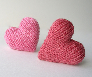 crafts, knitting, and hearts image
