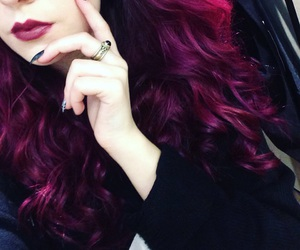 black nails, dark lips, and dyed hair image