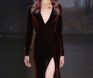 blood red, gown, and velvet image