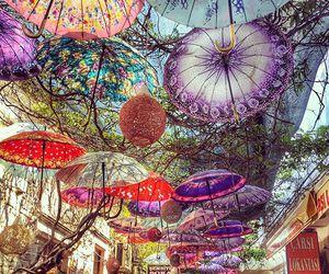 umbrella, colors, and travel image