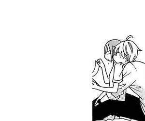 anime, anime couple, and black and white image