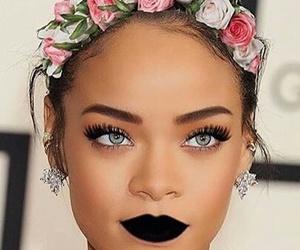 rihanna, eyes, and flowers image