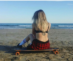 beach, longboard, and tattoo image
