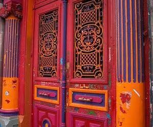 door, orange, and indie image