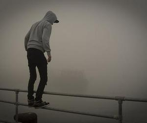 boy, fog, and jump image