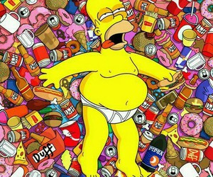 homer, simpsons, and food image
