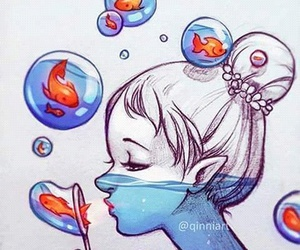 fish, girl, and art image