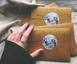 moon, letters, and grunge image