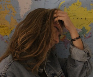 girl, map, and grunge image