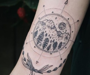 tattoo, art, and mountains image