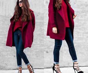 burgundy, coat, and fashion image