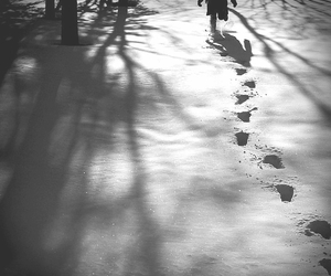black and white, footprints, and photography image