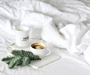 white, bed, and coffee image