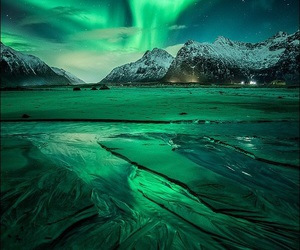 green, nature, and northern lights image