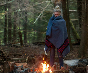 girl, fire, and camping image