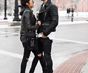black, brunette, and couple image