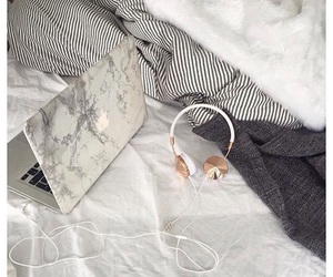 bed, gadget, and headphones image