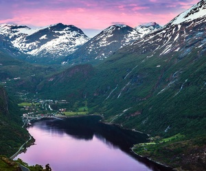 mountains, norway, and lake image