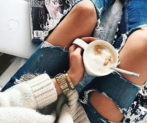 jeans, coffee, and tumblr image