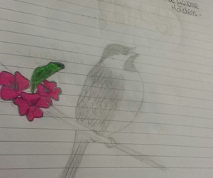 bird, diary, and flower image