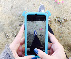 blue, iphone, and shoes image