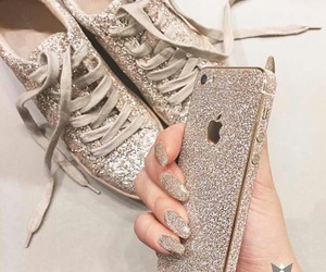 iphone, glitter, and gold image