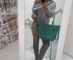 bag, boots, and dress image