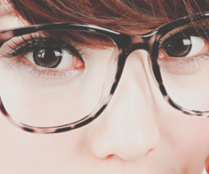 asian girl, eyes, and glasses image